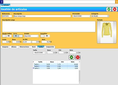tpv configuracion de tarifas